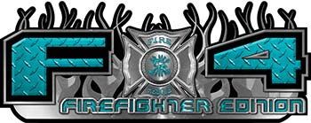 2015 Ford 4x4 Truck FX4 Firefighter Edition Style Decal Kit in Teal Diamond Plate