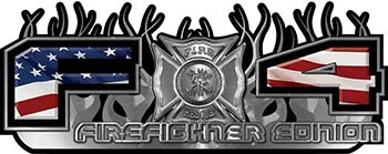 2015 Ford 4x4 Truck FX4 Firefighter Edition Style Decal Kit with American Flag