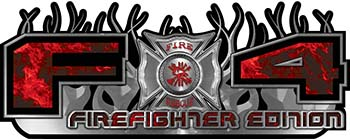 2015 Ford 4x4 Truck FX4 Firefighter Edition Style Decal Kit in Red Inferno Flames