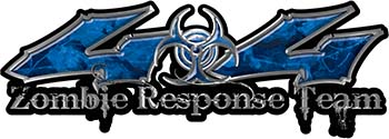 Twisted Series 4x4 Truck Zombie Response Team Decals / Stickers in Blue Camo