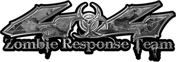 Twisted Series 4x4 Truck Zombie Response Team Decals / Stickers in Gray Camo