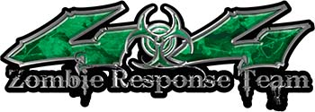 Twisted Series 4x4 Truck Zombie Response Team Decals / Stickers in Green Camo