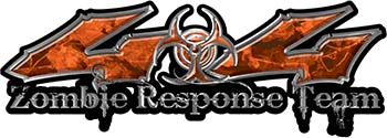 Twisted Series 4x4 Truck Zombie Response Team Decals / Stickers in Orange Camo