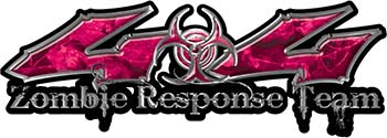 Twisted Series 4x4 Truck Zombie Response Team Decals / Stickers in Pink Camo