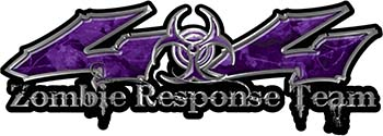 Twisted Series 4x4 Truck Zombie Response Team Decals / Stickers in Purple Camo