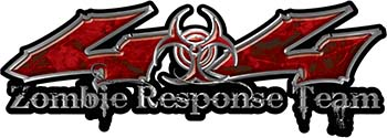 Twisted Series 4x4 Truck Zombie Response Team Decals / Stickers in Red Camo