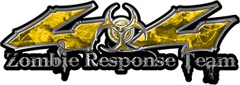 Twisted Series 4x4 Truck Zombie Response Team Decals / Stickers in Yellow Camo