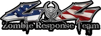 Twisted Series 4x4 Truck Zombie Response Team Decals / Stickers with American Flag