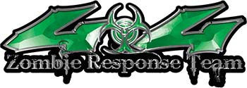 Twisted Series 4x4 Truck Zombie Response Team Decals / Stickers in Green