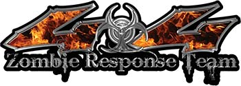 Twisted Series 4x4 Truck Zombie Response Team Decals / Stickers in Real Inferno Flames