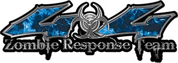 Twisted Series 4x4 Truck Zombie Response Team Decals / Stickers in Real Blue Inferno Flames