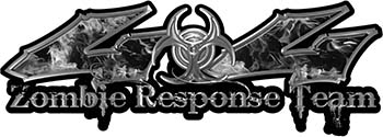 Twisted Series 4x4 Truck Zombie Response Team Decals / Stickers in Real Gray Inferno Flames