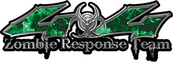 Twisted Series 4x4 Truck Zombie Response Team Decals / Stickers in Real Green Inferno Flames