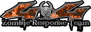 Twisted Series 4x4 Truck Zombie Response Team Decals / Stickers in Real Orange Inferno Flames
