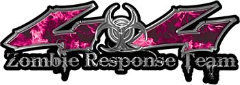 Twisted Series 4x4 Truck Zombie Response Team Decals / Stickers in Real Pink Inferno Flames