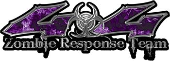 Twisted Series 4x4 Truck Zombie Response Team Decals / Stickers in Real Purple Inferno Flames