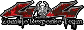 Twisted Series 4x4 Truck Zombie Response Team Decals / Stickers in Real Red Inferno Flames