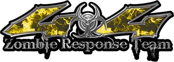 Twisted Series 4x4 Truck Zombie Response Team Decals / Stickers in Real Yellow Inferno Flames