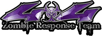Twisted Series 4x4 Truck Zombie Response Team Decals / Stickers in Purple