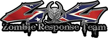 Twisted Series 4x4 Truck Zombie Response Team Decals / Stickers with Rebel Flag
