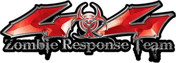 Twisted Series 4x4 Truck Zombie Response Team Decals / Stickers in Red