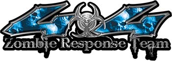 Twisted Series 4x4 Truck Zombie Response Team Decals / Stickers with Blue Skulls