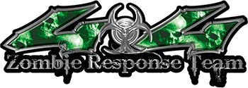 Twisted Series 4x4 Truck Zombie Response Team Decals / Stickers with Green Skulls