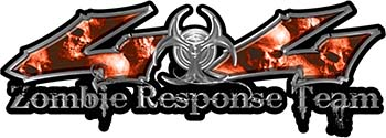 Twisted Series 4x4 Truck Zombie Response Team Decals / Stickers with Orange Skulls