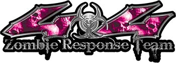 <p>Twisted Series 4x4 Truck Zombie Response Team Decals / Stickers with Pink Skulls</p>