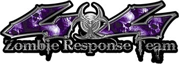 Twisted Series 4x4 Truck Zombie Response Team Decals / Stickers with Purple Skulls