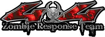 Twisted Series 4x4 Truck Zombie Response Team Decals / Stickers with Red Skulls