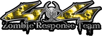 Twisted Series 4x4 Truck Zombie Response Team Decals / Stickers with Yellow Skulls