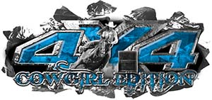 4x4 Cowgirl Edition Ripped Torn Metal Tear Truck Quad or SUV Sticker Set / Decal Kit in Blue Camouflage