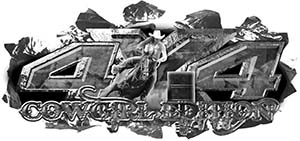 4x4 Cowgirl Edition Ripped Torn Metal Tear Truck Quad or SUV Sticker Set / Decal Kit in Gray Camouflage