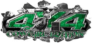 4x4 Cowgirl Edition Ripped Torn Metal Tear Truck Quad or SUV Sticker Set / Decal Kit in Green Camouflage