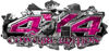 4x4 Cowgirl Edition Ripped Torn Metal Tear Truck Quad or SUV Sticker Set / Decal Kit in Pink Camouflage