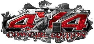 4x4 Cowgirl Edition Ripped Torn Metal Tear Truck Quad or SUV Sticker Set / Decal Kit in Red Camouflage
