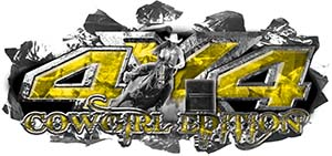 4x4 Cowgirl Edition Ripped Torn Metal Tear Truck Quad or SUV Sticker Set / Decal Kit in Yelow Camouflage