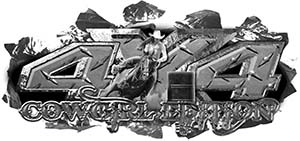 4x4 Cowgirl Edition Ripped Torn Metal Tear Truck Quad or SUV Sticker Set / Decal Kit in Diamond Plate
