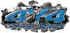 4x4 Cowgirl Edition Ripped Torn Metal Tear Truck Quad or SUV Sticker Set / Decal Kit in Blue Diamond Plate