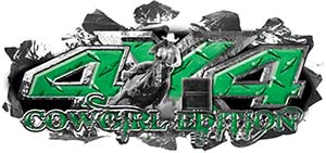4x4 Cowgirl Edition Ripped Torn Metal Tear Truck Quad or SUV Sticker Set / Decal Kit in Green Diamond Plate