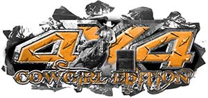 4x4 Cowgirl Edition Ripped Torn Metal Tear Truck Quad or SUV Sticker Set / Decal Kit in Orange Diamond Plate