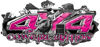4x4 Cowgirl Edition Ripped Torn Metal Tear Truck Quad or SUV Sticker Set / Decal Kit in Pink Diamond Plate