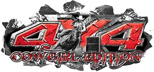 4x4 Cowgirl Edition Ripped Torn Metal Tear Truck Quad or SUV Sticker Set / Decal Kit in Red Diamond Plate