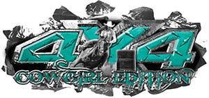 4x4 Cowgirl Edition Ripped Torn Metal Tear Truck Quad or SUV Sticker Set / Decal Kit in Teal Diamond Plate