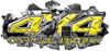 4x4 Cowgirl Edition Ripped Torn Metal Tear Truck Quad or SUV Sticker Set / Decal Kit in Yellow Diamond Plate