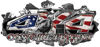 4x4 Cowgirl Edition Ripped Torn Metal Tear Truck Quad or SUV Sticker Set / Decal Kit in American Flag