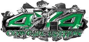 4x4 Cowgirl Edition Ripped Torn Metal Tear Truck Quad or SUV Sticker Set / Decal Kit in Green