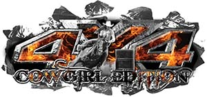 4x4 Cowgirl Edition Ripped Torn Metal Tear Truck Quad or SUV Sticker Set / Decal Kit in Inferno Flames