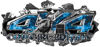 4x4 Cowgirl Edition Ripped Torn Metal Tear Truck Quad or SUV Sticker Set / Decal Kit in Blue Inferno Flames